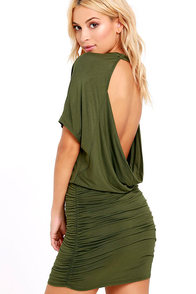 image Chic Composure Olive Green Backless Dress