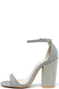 You Can Dance Light Grey Suede Rhinestone Heels