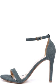 Dress Accordingly Blue Denim Ankle Strap Heels