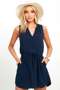 Ocean View Avenue Navy Blue Sleeveless Dress at Lulus.com!