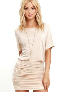 Chic Composure Beige Backless Dress