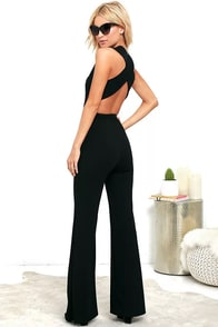 Thinking Out Loud Black Backless Jumpsuit