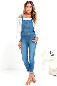image Follow Along Medium Wash High-Waisted Denim Overalls