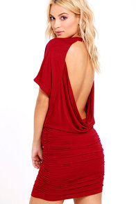 Chic Composure Wine Red Backless Dress