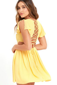 La Brea Yellow Backless Lace-Up Dress at Lulus.com!