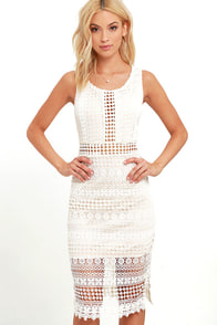 Set To Stun Beige And Ivory Lace Midi Dress at Lulus.com!
