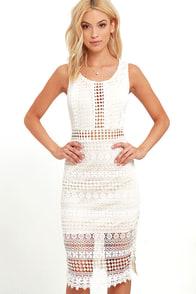 Set to Stun Beige and Ivory Lace Midi Dress