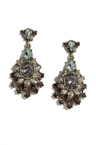 Dream of Genie Grey Rhinestone Earrings
