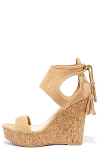 image Newfangled Toffee Brown Suede Wedge Sandals