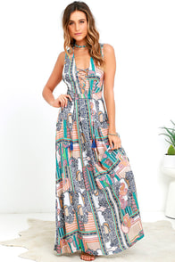 Relinquish My Title Peach Print Lace-Up Maxi Dress at Lulus.com!