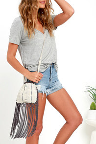 image Dancing Moon Beige and Grey Fringe Purse