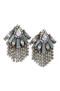 image Depths of Mystery Iridescent Rhinestone Earrings