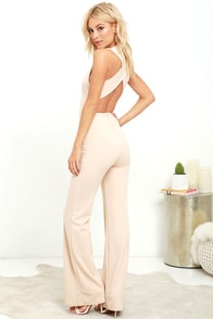 Thinking Out Loud Beige Backless Jumpsuit
