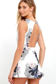 Peonies Please Ivory Floral Print Romper at Lulus.com!