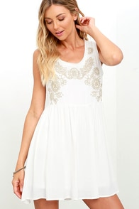 image Get Up and Glow Ivory Embroidered Dress