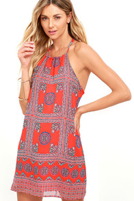 Social Philosophy Coral Red Print Halter Dress at Lulus.com!