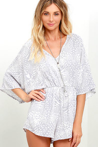 Ready for Vacay Ivory and Grey Print Romper