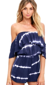Maui Mountains Indigo Blue Tie-Dye Off-the-Shoulder Romper at Lulus.com!