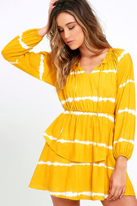 image Power to the Peaceful Yellow Tie-Dye Dress