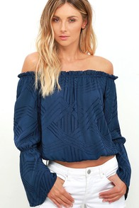 From Sunup Navy Blue Embroidered Off-the-Shoulder Top at Lulus.com!