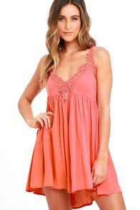 image Amor Mio Coral Pink Backless Lace Dress
