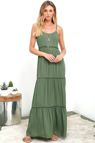 image Beck and Call Olive Green Maxi Dress