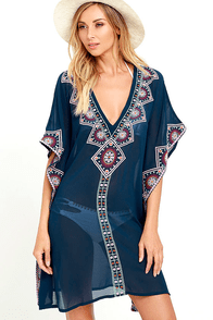 image Canal Cruise Navy Blue Embroidered Kaftan Cover-Up
