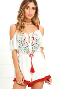 Some Days Lovin' Leonie Ivory Embroidered Romper at Lulus.com!