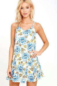 JOA Mindfulness Blue Floral Print Dress at Lulus.com!