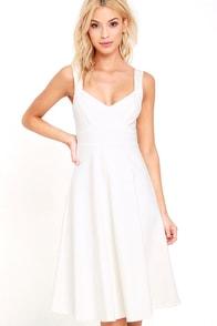 image Uptown Twirl Ivory Midi Dress