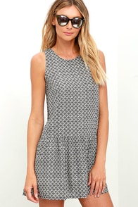 Tile Be There Grey Print Dress