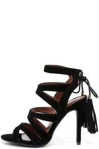 Dance Circle Black Suede Caged Heels