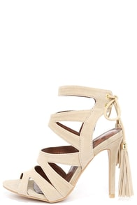image Dance Circle Nude Suede Caged Heels
