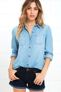 image Jean Kelly Light Blue Chambray Button-Up Top