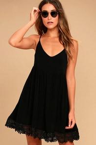 Rhiannon Black Lace Babydoll Dress