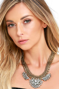 image Good as Mine Gold Rhinestone Statement Necklace