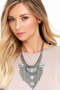 image All Its Glory Silver and Turquoise Rhinestone Statement Necklace