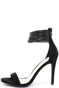 Adore Me Black Suede Ankle Strap Heels