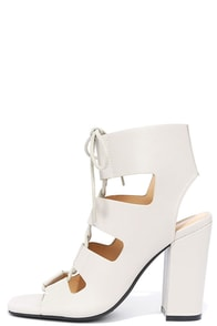 image Glamorous Pilot Cream Lace-Up Ankle Booties