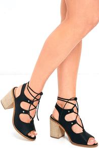 image Glamorous City Vibe Black Lace-Up Heels