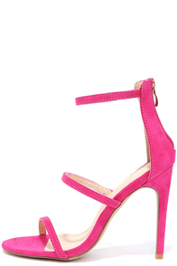 Three Love Fuchsia Suede Dress Sandals