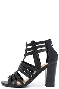Near Future Black Caged Heels