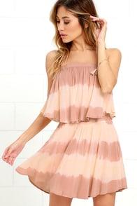 image Ideal Island Blush Tie-Dye Strapless Dress