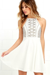 Bring The Bling Ivory Studded Skater Dress at Lulus.com!