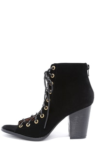 image Wild World Black Suede Lace-Up Booties