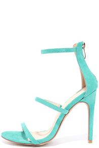 Three Love Sea Green Suede Dress Sandals