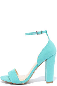 Lovely Does Bright Jade Suede Ankle Strap Heels
