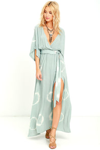 Long Live Love Sage Green Tie-Dye Maxi Dress