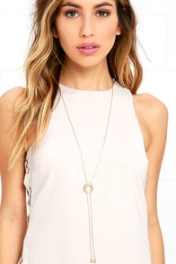 image Crescent Moon Gold Lariat Necklace