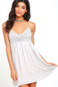 image Magical Mystery Light Grey Crochet Babydoll Dress